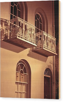 Balconies Wood Print by Tom Gowanlock