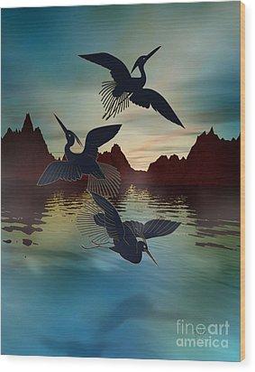3 Black Herons At Sunset Wood Print by Bedros Awak