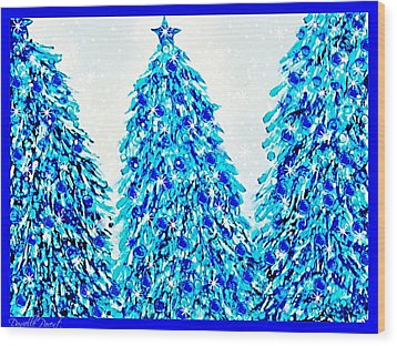 3 Blue Christmas Trees Alcohol Inks  Wood Print by Danielle  Parent
