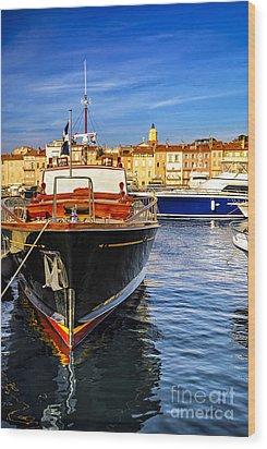 Boats At St.tropez Wood Print by Elena Elisseeva