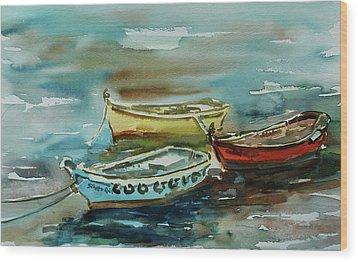 3 Boats II Wood Print by Xueling Zou