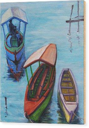 3 Boats IIi Wood Print by Xueling Zou