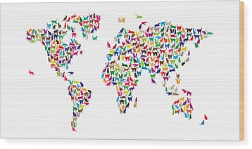 Cats Map Of The World Map Wood Print