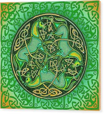 3 Celtic Irish Horses Wood Print by Michele Avanti