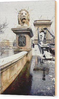 Chain Bridge In Budapest Wood Print