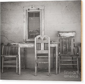 3 Chairs Wood Print