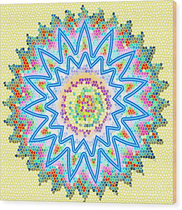 Colorful Signature Art Chakra Round Mandala By Navinjoshi At Fineartamerica.com Rare Fineart Images  Wood Print by Navin Joshi