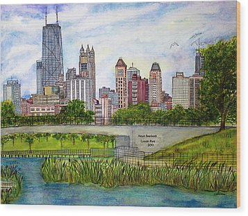 Chicago Skyline Wood Print by Janet Immordino
