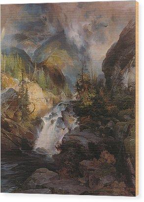 Children Of The Mountain Wood Print by Thomas Moran