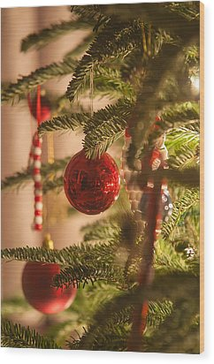 Wood Print featuring the photograph Christmas Tree Ornaments by Alex Grichenko