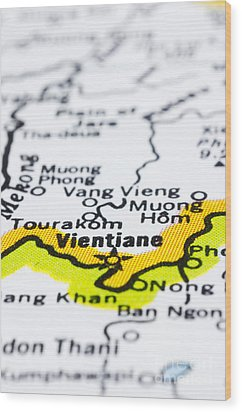 close up of vientiane on map-Laos Wood Print by Tuimages