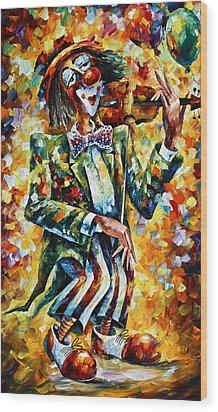 Clown Wood Print by Leonid Afremov