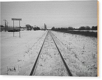 Cn Canadian National Railway Tracks And Grain Silos Kamsack Saskatchewan Canada Wood Print by Joe Fox