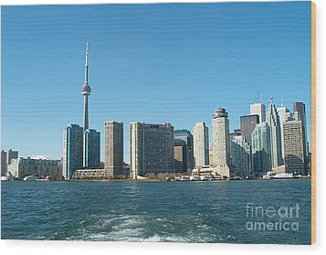Cn Tower Toronto View From Centre Island Downtown Panorama Improvised With Graphic Artist Tools Pain Wood Print