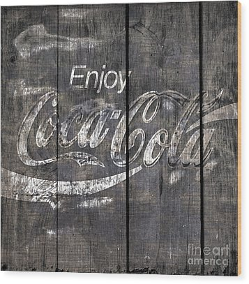 Coca Cola Sign Wood Print by John Stephens