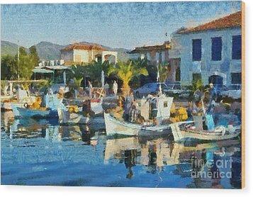 Colorful Port Wood Print by George Atsametakis