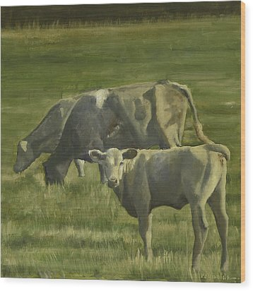 Wood Print featuring the painting 3 Cows In The Pasture by John Reynolds