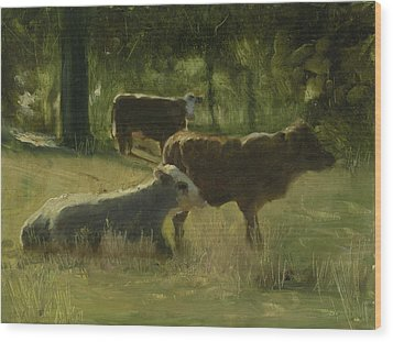 Wood Print featuring the painting Cows In The Sun by John Reynolds