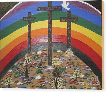 3 Crosses And A Rainbow Wood Print