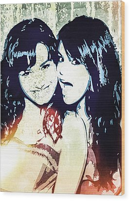 Demi Lovato And Selena Gomez Wood Print by Svelby Art