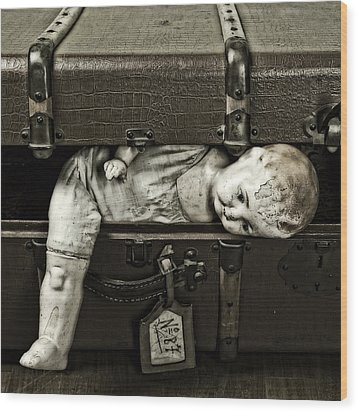 Doll In Suitcase Wood Print by Joana Kruse