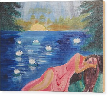 Wood Print featuring the painting Dreaming At Lotus Lake by Diana Riukas