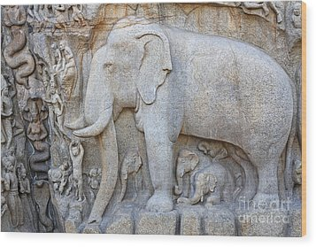 Elephant Sculpture At Mamallapuram  Wood Print by Robert Preston
