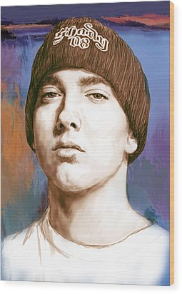 Eminem - Stylised Drawing Art Poster Wood Print by Kim Wang