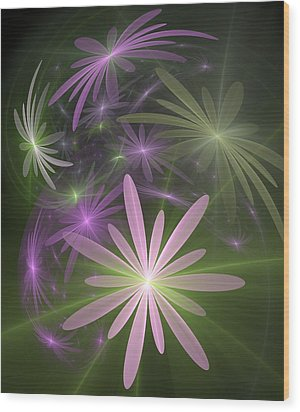 Ethereal Flowers Wood Print