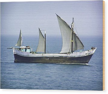 Fishing Vessel In The Arabian Sea Wood Print