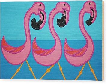 3 Flamingos  Wood Print by Matthew Brzostoski