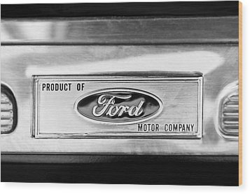 Powered By Ford Emblem -0307bw Wood Print by Jill Reger