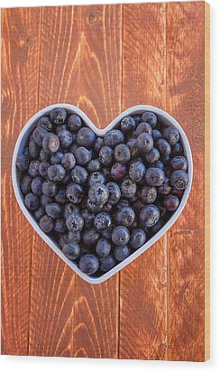 Fresh Picked Organic Blueberries Wood Print