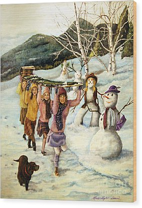 Frosty Frolic Wood Print by Linda Simon