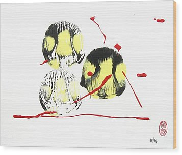 Wood Print featuring the painting Fugu Ichi by Roberto Prusso