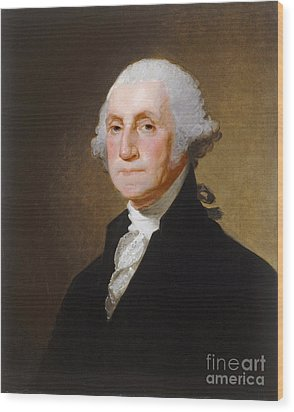 George Washington Wood Print by Gilbert Stuart