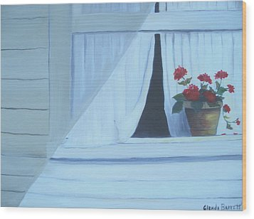 Geraniums On Windowsill Wood Print by Glenda Barrett