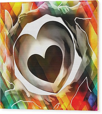 Wood Print featuring the digital art Get Connected At Heart by Catherine Lott