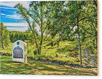 Gettysburg Battleground Wood Print by Bob and Nadine Johnston