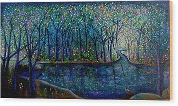 Glistening Forest Lake Wood Print