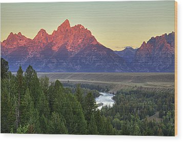 Wood Print featuring the photograph Grand Tetons Morning At The Snake River Overview - 2 by Alan Vance Ley