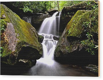 Grotto Falls Wood Print by Frozen in Time Fine Art Photography