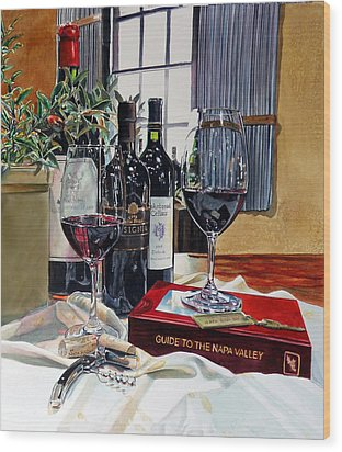 Wood Print featuring the painting Guide To The Napa Valley by Gail Chandler