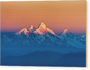 Himalayan Mountains View From Mt. Shivapuri Wood Print by Ulrich Schade