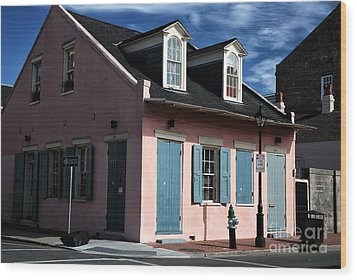House On The Corner Wood Print by John Rizzuto