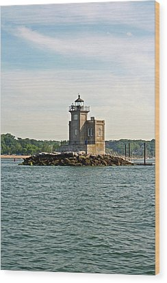 Wood Print featuring the photograph Huntington Lighthouse by Karen Silvestri