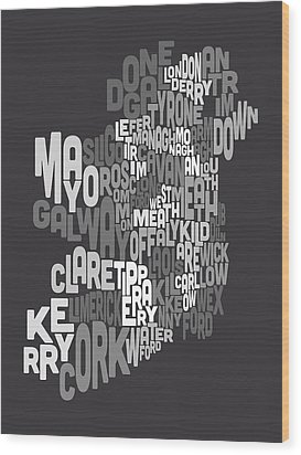 Ireland Eire County Text Map Wood Print by Michael Tompsett