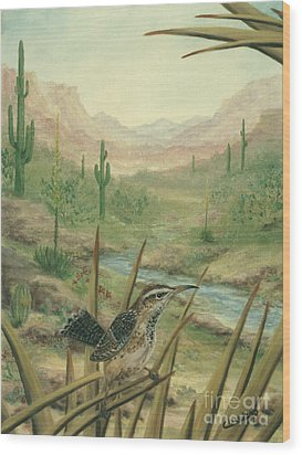 King Of The Cactus Wood Print by Cathy Cleveland