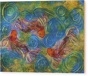 Koi Mating Dance Wood Print by Janet Immordino