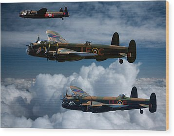 3 Lancaster Bombers Wood Print by Ken Brannen